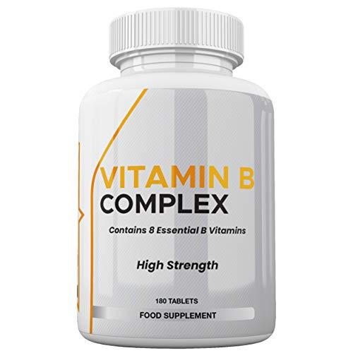 Vitamin B Complex - 180 High Strength Tablets 100 NRV% - 8 Essential B Vitamins - Vitamins B1, B2, B3, B5, B6, B12, Biotin & Folic Acid - UK Made Vegetarian & Vegan