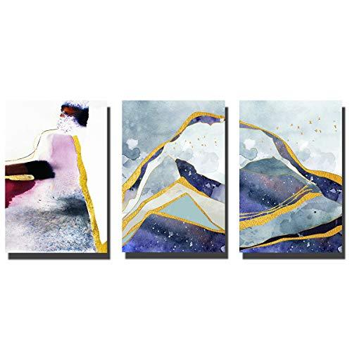 Paintngs | Pintura abstracta | Impresiones sobre lienzo | Pinturas impresas | Pinturas decorativas | Pintura para decoración del hogar | Pinturas de estudio 3 piezas 40 x 60 cm C-C001-4