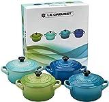 Le Creuset Set de mini cocottes, 4 unidades, Redondas, 200 ml cada una, 10 x 5 cm, Cerámica de gres, Verde y Menta y Turquesa y Azul