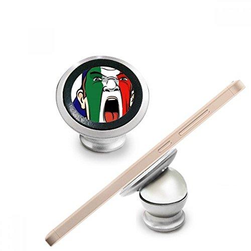 Italië Nationale Vlag Gezicht Schilderij Make-up Masker Schreeuwende Cap Magnetische Telefoon Mount Auto Dashboard Houder voor Mobiele Telefoon 360 Graden Rotatie Gift