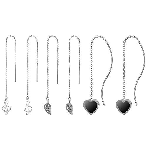JewelryWe sieraden 3 paar dames doortrekker oorbellen met hart pijl blad muziek notensleutel en staafjes, fijne kettingoorbellen om uit te rijgen van roestvrij staal