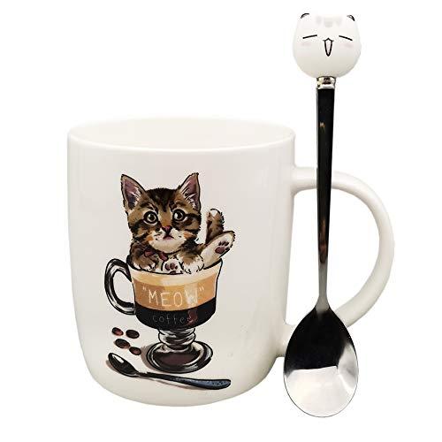 Cat Mug with Spoon Cute Coffee Mug Set 12oz Ceramic Cat Mug for Cat Lover Funny Cat Mug Gifts for Kids Boy Girl Man Women - Meow Coffee