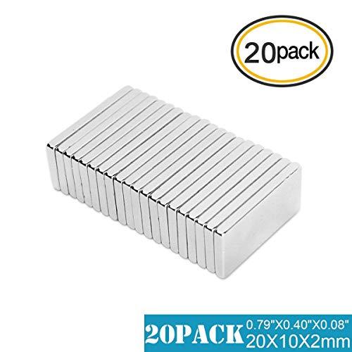 Neodym Magnete Extra Stark, 20 Pcs Heavy Duty seltene Erden Neodym Magnete für DIY Building Craft Office – 20 x 10 x 2 mm grade 35