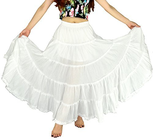 YSJERA Women's Cotton 5 Tiered A Line Pleated Maxi Skirt Long Swing Dance Skirts (One Size, White)
