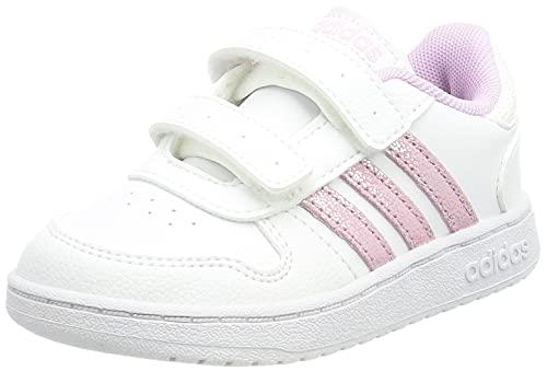 adidas Unisex Baby Hoops 2.0 CMF Sneaker, Cloud White/Clear Lilac/Grey, 26 EU