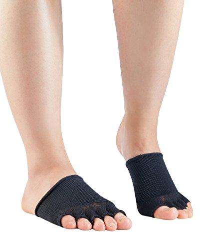 Knitido Dr. Foot Hallux-Valgus-Zehlinge, Füßlinge zur Unterstützung bei Ballenzeh, offene Zehen, Farbe:schwarz (001), Größe:35-40
