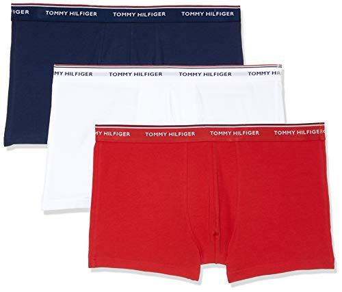 Tommy Hilfiger 3p Trunk Bóxer, Blanco (White/Tango Red/Peacoat 611), Small (Pack de 3) para Hombre