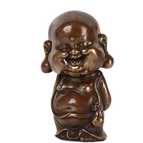 Escultura de Bronce Laughing Buddha Decoración Decoración del hogar Crafts-A_11 * 10 * 21CM