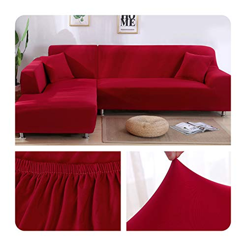ZaHome Funda elástica de sofá para sala de estar, esquina en U, funda de sofá todo incluido, fundas de sofá en forma de L necesitan comprar 2 piezas, 003 – 2 plazas (145 – 185 cm)