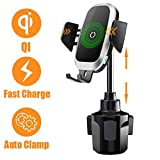 Cup Holder Phone Mount Wireless Car Charger, NeotrixQI Auto Clamping Qi 10W Fast Charging Cell Phone Holder Compatible with iPhone 11 Pro Xs Max XR X 8 Plus, Samsung Galaxy S10 S9 S8 Note 10, Moto, LG