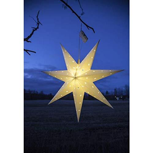 Kamaca Großer leuchtender LED Stern Outdoor LED Außenstern 60 cm Durchmesser Bright Shining Star mit 12 warm White LED mit Timer Advent Winter Weihnachten (Weiss)