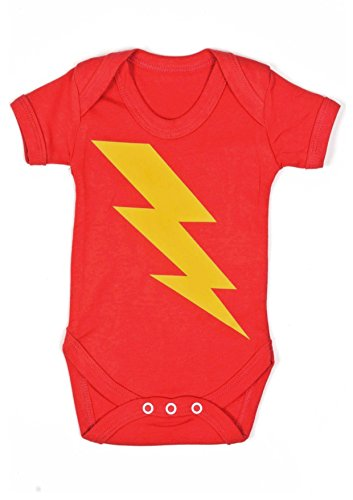 Baby Moo's Superhero Bolt - Body de manga corta unisex con estampado de relámpago Talla:6-12 meses