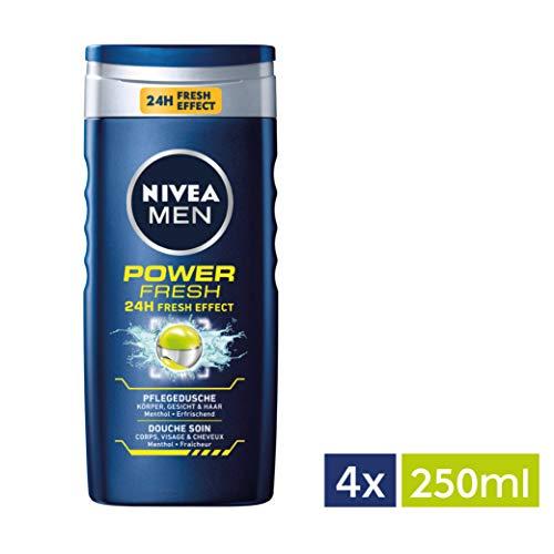 NIVEA Men 4er Pack Duschgel für Körper, Gesicht & Haar, 4 x 250 ml Flasche, Power Refresh