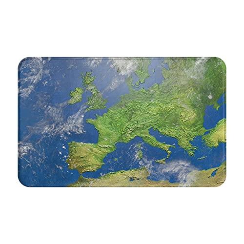 CONICIXI Felpudo de Entrada Interior Alfombra Mapa en Relieve sombreado Mapa 3D de Europa Antideslizante Tapete para Puerta Lavable a Máquina para Cocina baño balcón