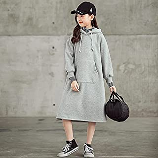 Girl Plus Velvet Thickening Color Contrast Stripe High Collar Hooded Mid-Length Dress High Quality (Color : Grey, Size : 1...