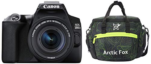 Canon EOS 200D II 24.1MP Digital SLR Camera + EF-S 18-55mm f4 is STM Lens (Black) + Arctic Fox Sling Shutter Topography Camera Bag