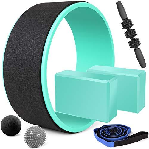 Odoland Set di Ruota Yoga 7 in 1, Yoga Wheel con 2 Blocchi Yoga, Cinghia Yoga, Roller...