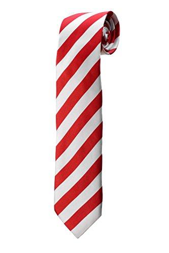 Cravate en satin à rayures rouges et blanches DESIGN costume homme mariage