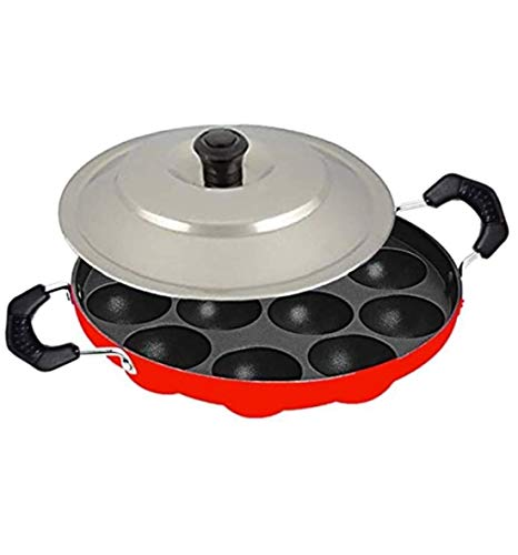 Anian12 Cavities Non Stick Appam Patra with Lid,Red (Paniyarrakal/Paniyaram/Appam Pan/Maker/Pan Cake Maker)