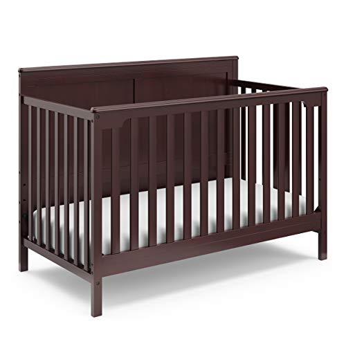 Storkcraft Alpine 4-in-1 Convertible Crib (Espresso) – JPMA Certified, Converts to Toddler Bed, Daybed, and Full-Size Bed with Headboard and Footboard, Adjustable Mattress Support Base