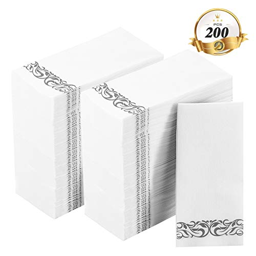 200 Disposable Hand Towels Soft and Absorbent Linen-Feel Paper Hand Towels Durable Decorative Bathroom Hand Napkins Good for Kitchen, Parties, Weddings, Dinners or Events White and Silver