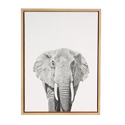 Kate and Laurel Sylvie Elephant Black and White Portrait Framed Canvas Wall Art by Simon Te Tai, 18x24 Natural