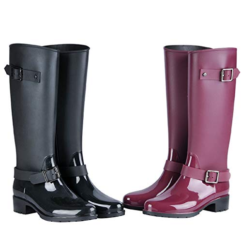 H-Mastery Botas de Agua Mujer Lluvia con Goma Altas Zapatos Impermeable Ajustable Wellington Boots(Negro,talla40)