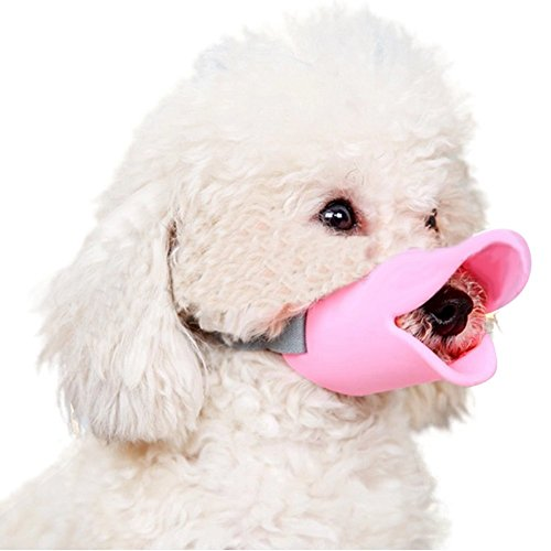 NACOCO Anti Bite Duck Mouth Shape Dog Mouth Covers Anti-Called Muzzle Masks Pet Mouth Set Bite-Proof Silicone Material (Pink, S)