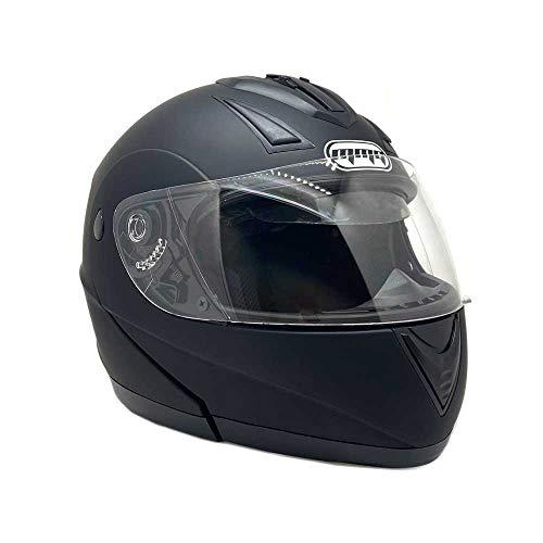 Motorcycle Modular Full Face Helmet Flip-Up Dual Visor DOT Street Legal - Flat Matte Black (Large)