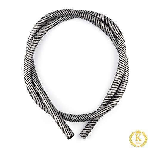 K King'z® Shisha Schlauch grau in Carbon matt   Silikonschlauch Shisha   kompatibel mit jedem Mundstück und Adapter   Wasserpfeife Zubehör inclusive eBook