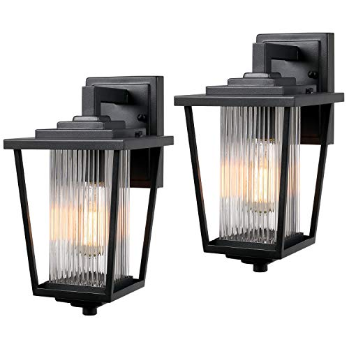Osimir Outdoor Wall Light, 2 Pack Modern Farmhouse Outdoor Wall Sconce Lighting in Black Finish with Ribbed Glass, 2410/1Ws-2PK