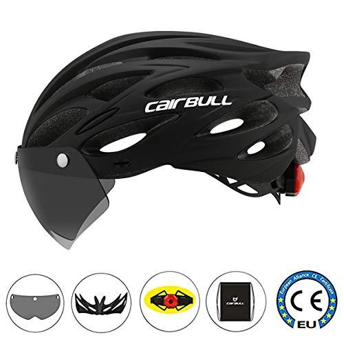 Cairbull Fahrradhelm für Damen und Herren, mit Lampe, Größe M/L, 2, CB-26, Schwarz
