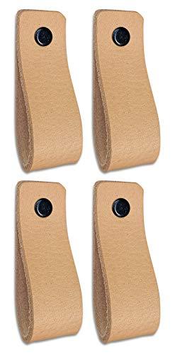 Brute Strength - Ledergriffe Möbel - Naturel - 4 Stück - 16,5 x 2,5 cm - enthält 3 Schraubenfarben pro Ledergriff für Küchenschränke - Bad - Schränke