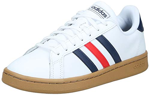 adidas Grand Court, Scarpe da Tennis Uomo, Ftwr White/Trace Blue F17/Active Red, 42 EU