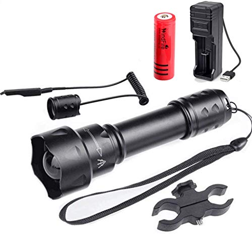 T20 IR 850NM Lente de 38mm Luz infrarroja Kits de antorcha LED de visión nocturna de largo alcance: para uso con dispositivo de visión nocturna, con montaje de alcance, interruptor de presión,