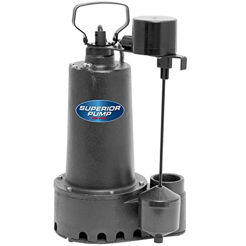 Superior Pump 92511 1/2 HP Cast Iron Submersible Sump Pump with Vertical Float Switch
