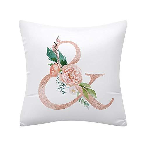ZJMKFJL White Square Pillowcase, Sofa Pillowcase, Chair Cushion Cover, Peach Skin Material, Home Decoration, Letter Printed Pattern, High-End Pillow, 45 * 45, 4Pcs