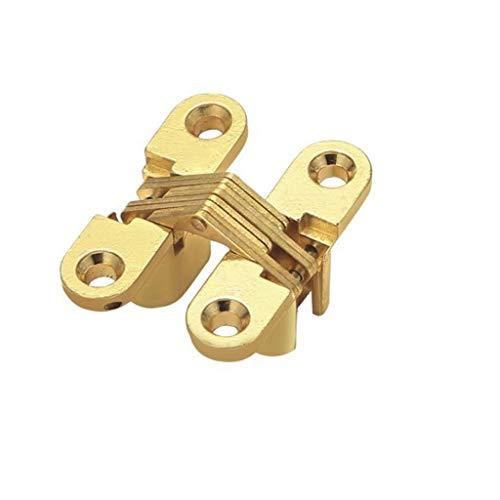 WODMB Bisagra oculta de 180 grados para armario de gabinete Caja de madera Montado en tornillo, Acabado cepillado de acero inoxidable, 2 PCS (Color : Gold)