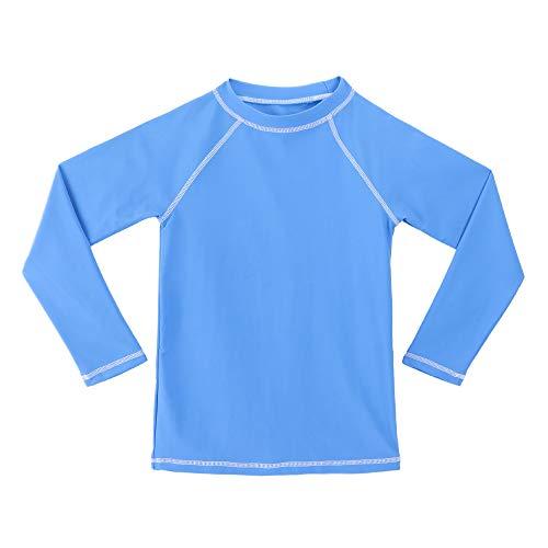TIZAX Camiseta UV de Manga Larga para niños Traje de baño con protección Solar Rashguard para Surf/Nadando/Buceo/Playa Azul 116