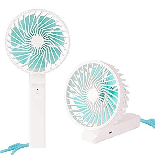 Ventilador de Mano, Mini Ventilador, Uso Dual para Ventilador de Escritorio y Ventilador Exterior USB, batería Recargable de Litio 18650, operación de 3 velocidades, Color Blanco
