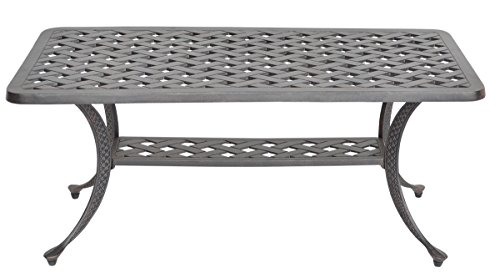 K&B PATIO LD1031F-2142 Nassau Coffee Table, 21' x 42', Antique Bronze