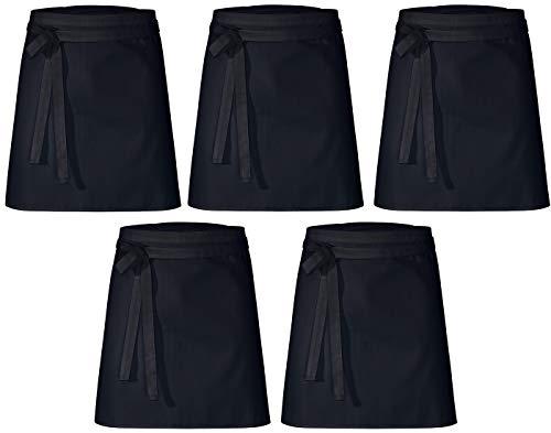 DESERMO 5er Set Premium kurzer Vorbinder 50cm x 80cm (L X B) ✓ Hochwertige Taillen-Schürze für Frau und Mann ✓ Innovative Mischung aus Baumwolle und Polyester ✓ (Schwarz)