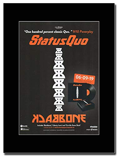 Gasolinerainbows Status Quo - Backbone - Revista montada Obra de Arte Promocional en una Montura Negra - Matted Mounted Magazine Promotional Artwork on a Black Mount