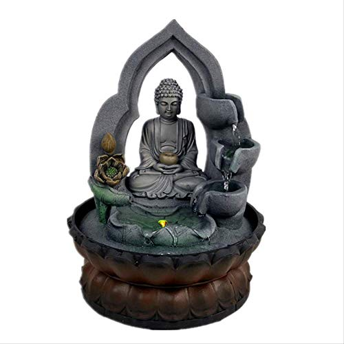 Indoor Air Humidifie Waterfall Fountain Office Tabletop Relaxation Fountain View with LED Light Lucky Feng Shui Buddha Statue
