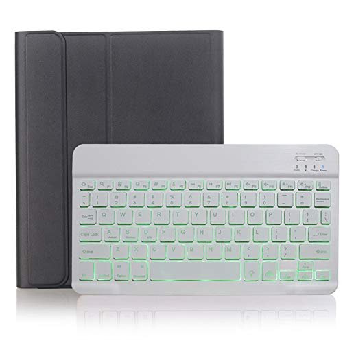 NVFED Backlit Keyboard Case For iPad Mini 1 2 3 7.9 A1490 A1454 A1600 with Pen Slot Leather Cover Colors Light Detachable Keyboard (Color : Black with White)