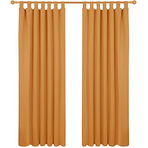 Deconovo Tende Oscuranti Termiche Isolanti 140x290 CM 2 Pezzi, Tende Moderne per Soggiorno Interni, con Passanti, Arancione