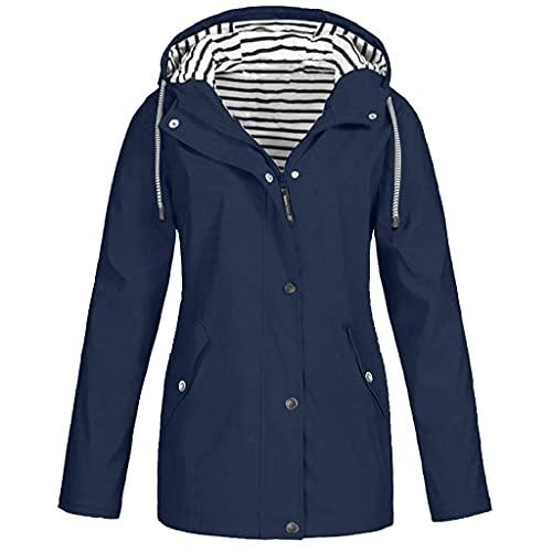 L9WEI Chaqueta de lluvia para mujer, para otoño, exterior, suelta, con capucha, para deporte, parka, para exteriores, impermeable, cortavientos, abrigo de invierno