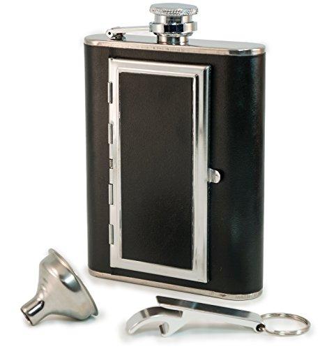 Perfect Pregame Fiaschetta per Alcol– Fiaschetta Tascabile Porta liquori in Acciaio Inox e Pelle con Porta sigarette Per Uomo e Donna. Ottima idea regalo