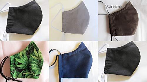 Herren Behelfsmaske uni mit Filtertasche, Vlies und Nasenbügel, Mundschutz waschbar 60°, Maske in 2 Größen