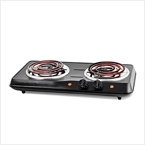 Ovente Electric Double Coil Burner 5.7 & 6 Inch Hot Plate Cooktop with Dual 5 Level Temperature Control & Easy Clean Stainless Steel Base, 1700W Portable Stove for Home Dorm Office, Black BGC102B